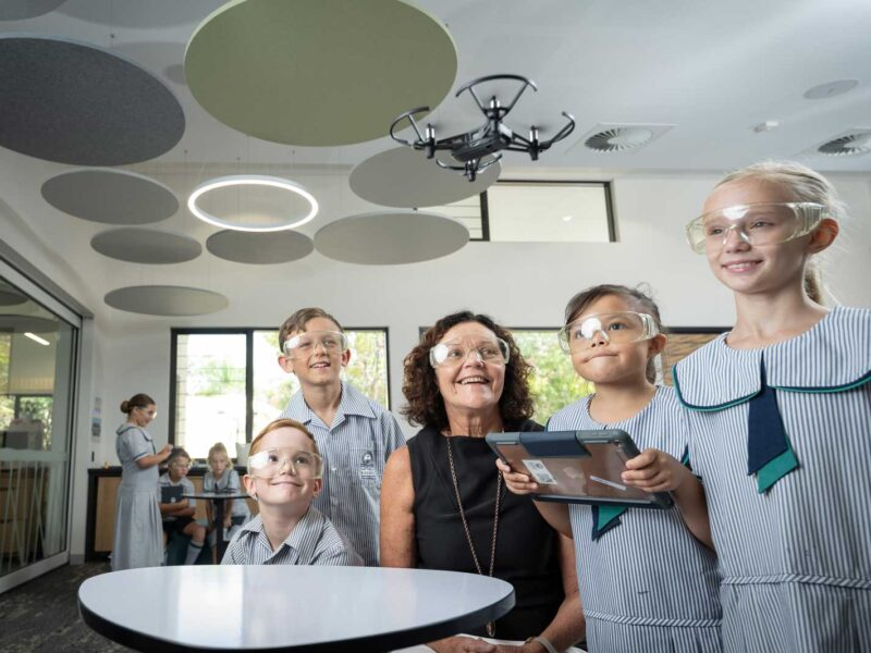 Primary Students with Drone