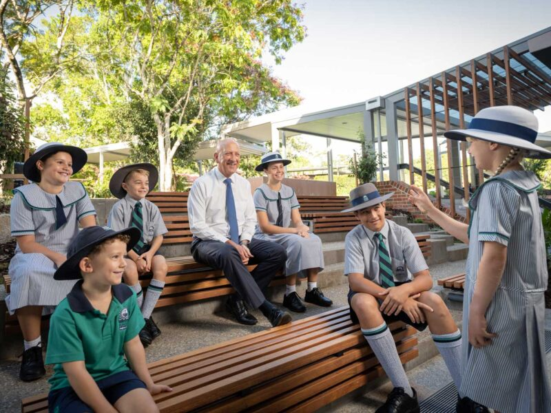 Flinders Principal Stuart Meade with students