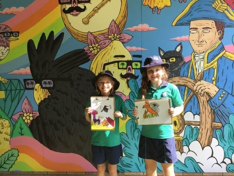 Student artists inspired by Mulga the artist at Flinders