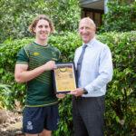 Flinders rugby star Mitch Lehmann with Principal Stuart Meade